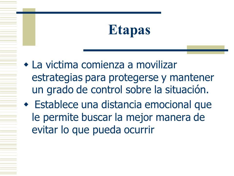 Etapas La victima comienza a movilizar estrategias para protegerse y mantener un grado de control sobre la situación.