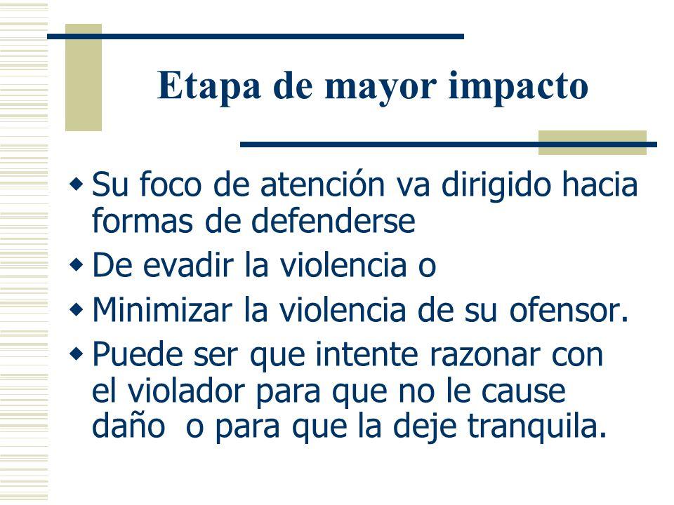 Etapa de mayor impacto Su foco de atención va dirigido hacia formas de defenderse. De evadir la violencia o.