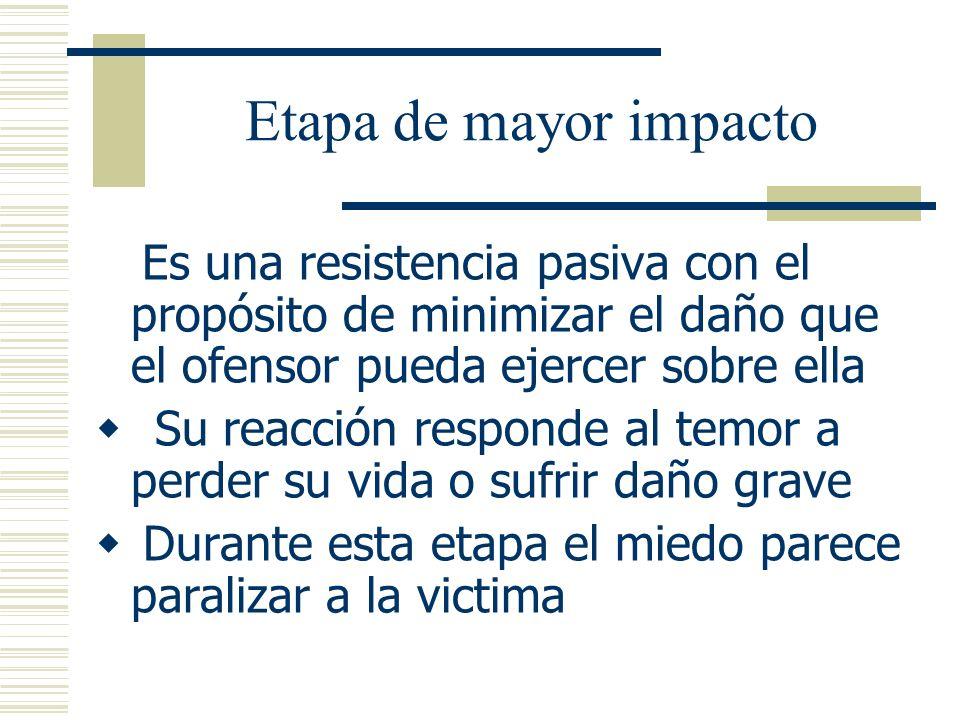 Etapa de mayor impacto Es una resistencia pasiva con el propósito de minimizar el daño que el ofensor pueda ejercer sobre ella.