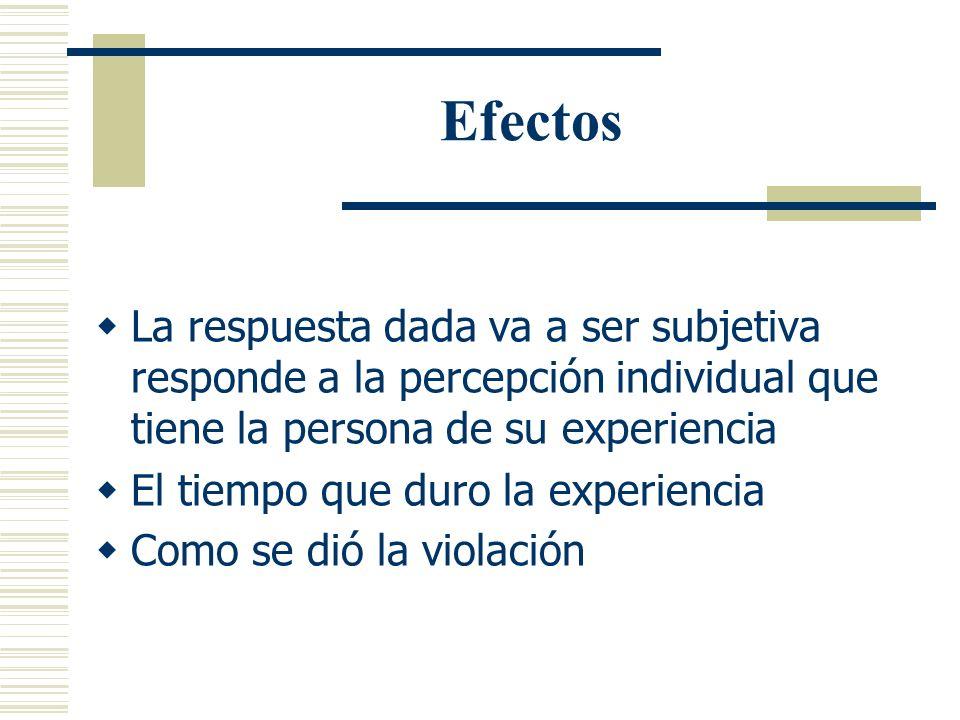Efectos La respuesta dada va a ser subjetiva responde a la percepción individual que tiene la persona de su experiencia.