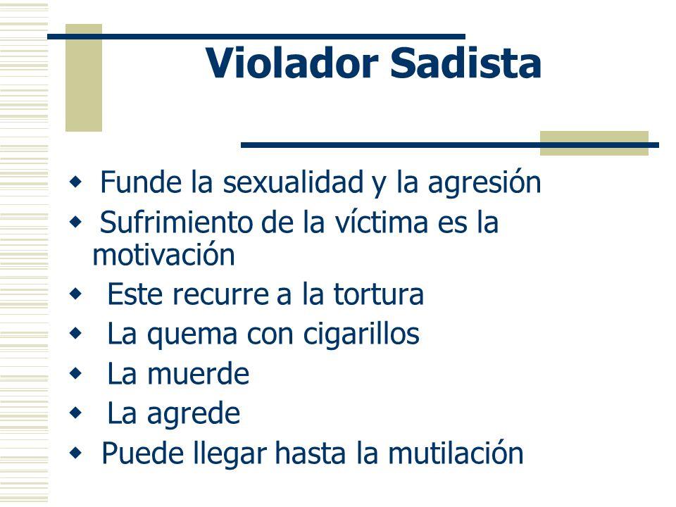 Violador Sadista Funde la sexualidad y la agresión