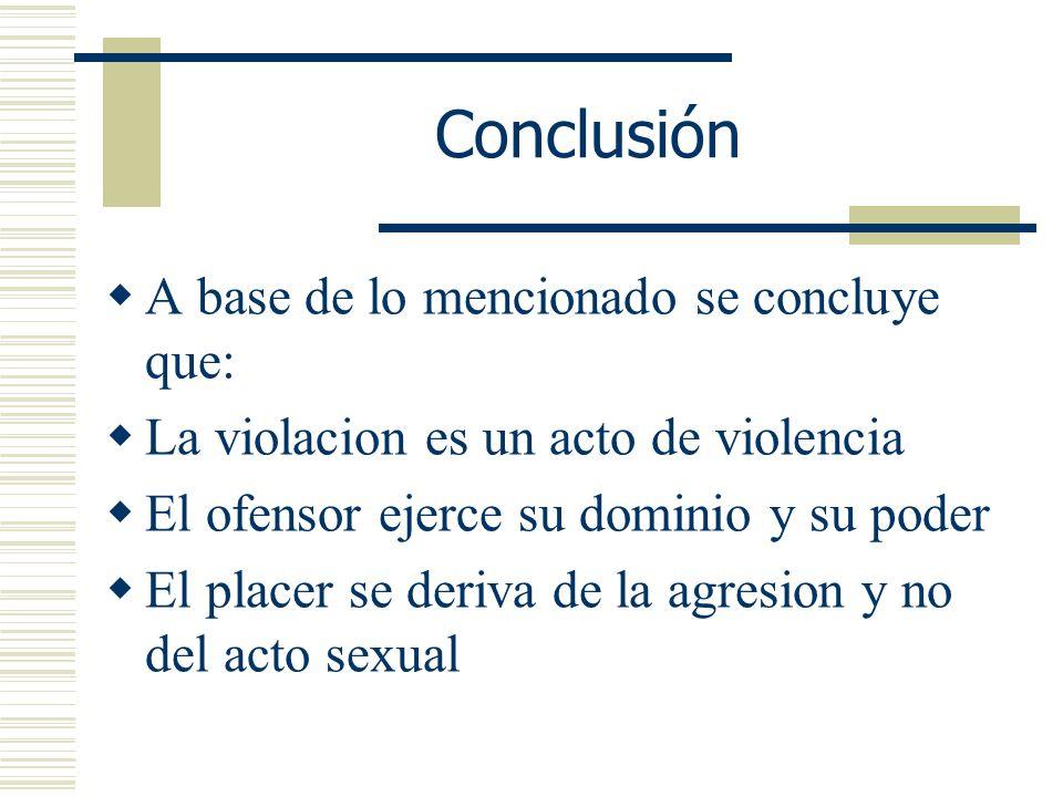 Conclusión A base de lo mencionado se concluye que: