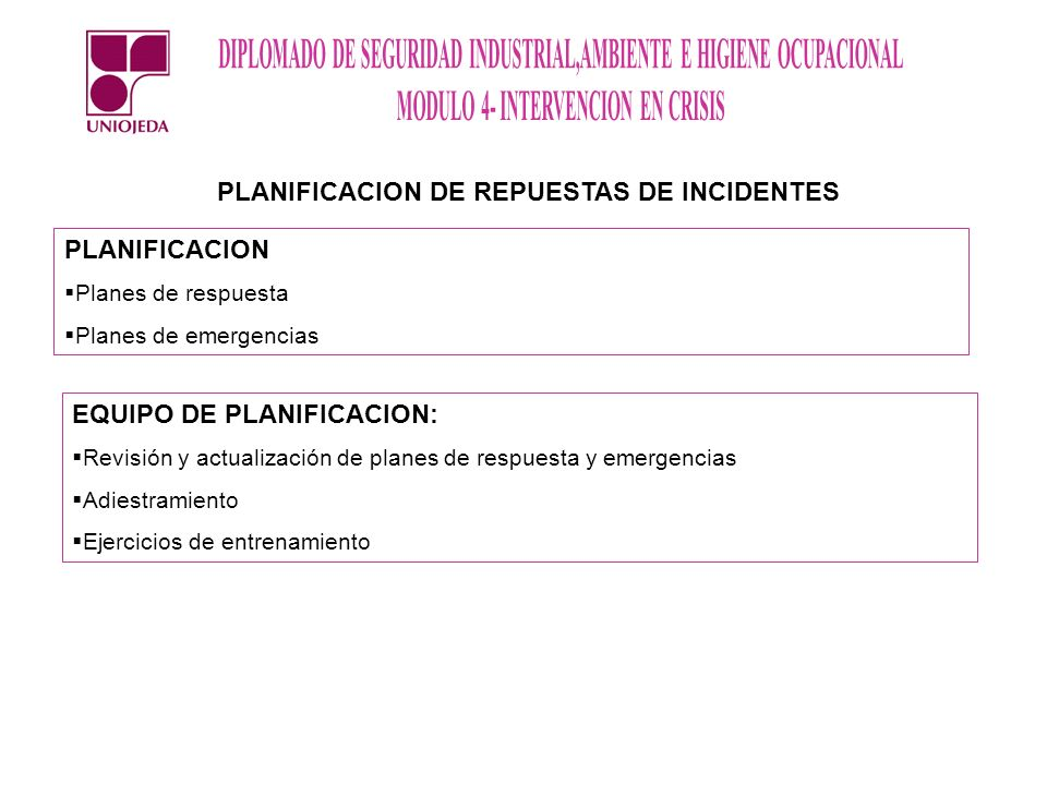 PLANIFICACION DE REPUESTAS DE INCIDENTES