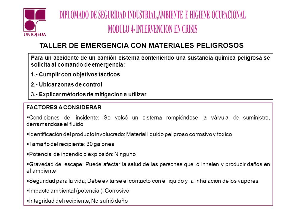 TALLER DE EMERGENCIA CON MATERIALES PELIGROSOS