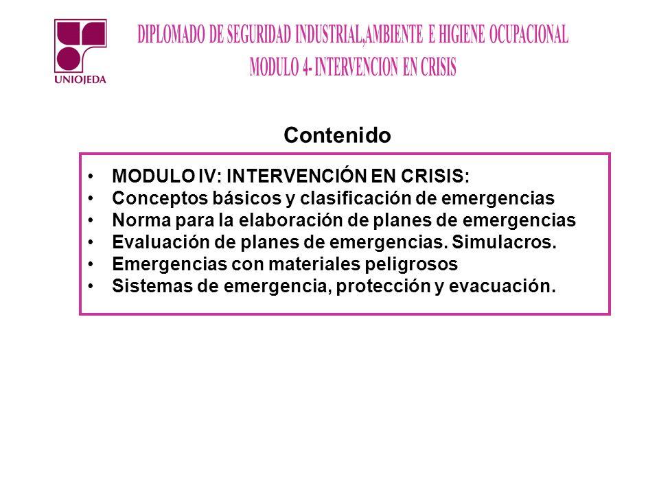 Contenido MODULO IV: INTERVENCIÓN EN CRISIS: