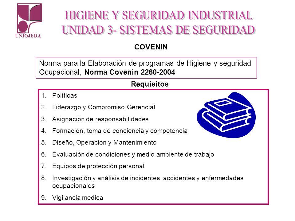 COVENINNorma para la Elaboración de programas de Higiene y seguridad Ocupacional, Norma Covenin 2260-2004.