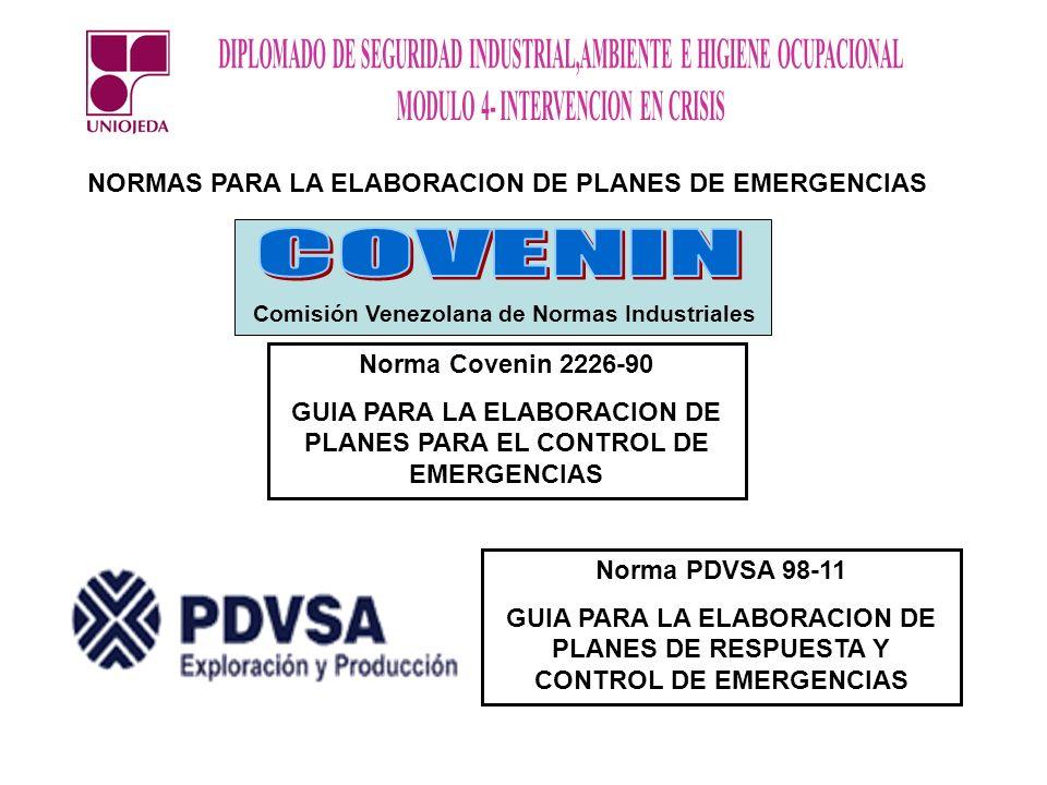 COVENIN NORMAS PARA LA ELABORACION DE PLANES DE EMERGENCIAS