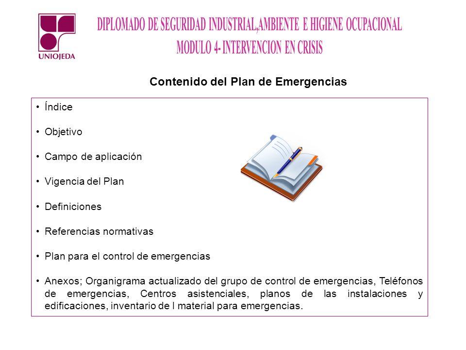 Contenido del Plan de Emergencias