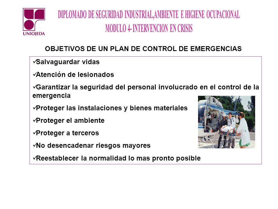 OBJETIVOS DE UN PLAN DE CONTROL DE EMERGENCIAS