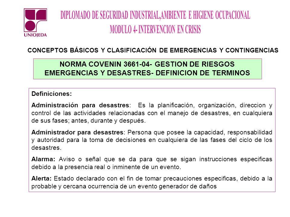 CONCEPTOS BÁSICOS Y CLASIFICACIÓN DE EMERGENCIAS Y CONTINGENCIAS
