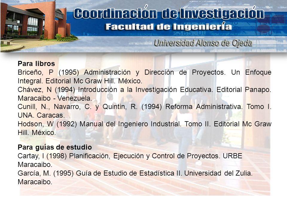 Para libros Briceño, P (1995) Administración y Dirección de Proyectos. Un Enfoque Integral. Editorial Mc Graw Hill. México.
