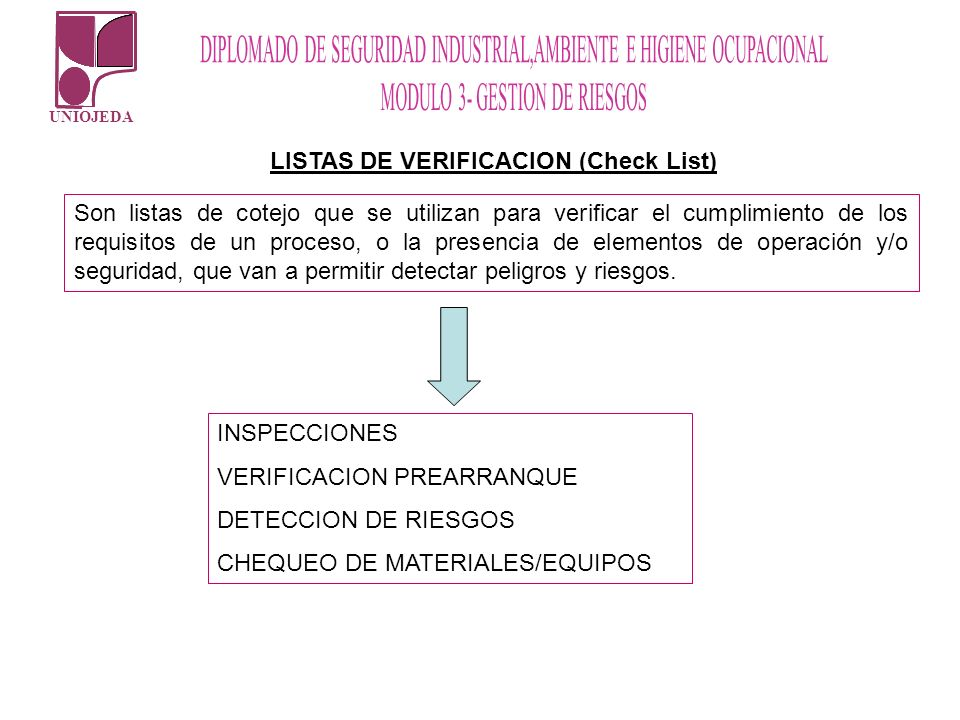 LISTAS DE VERIFICACION (Check List)