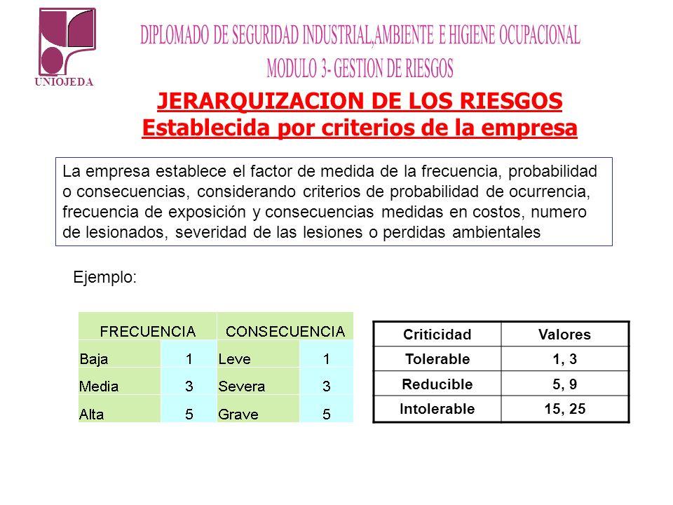 JERARQUIZACION DE LOS RIESGOS Establecida por criterios de la empresa