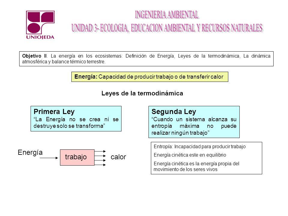Primera Ley Segunda Ley Energía trabajo calor