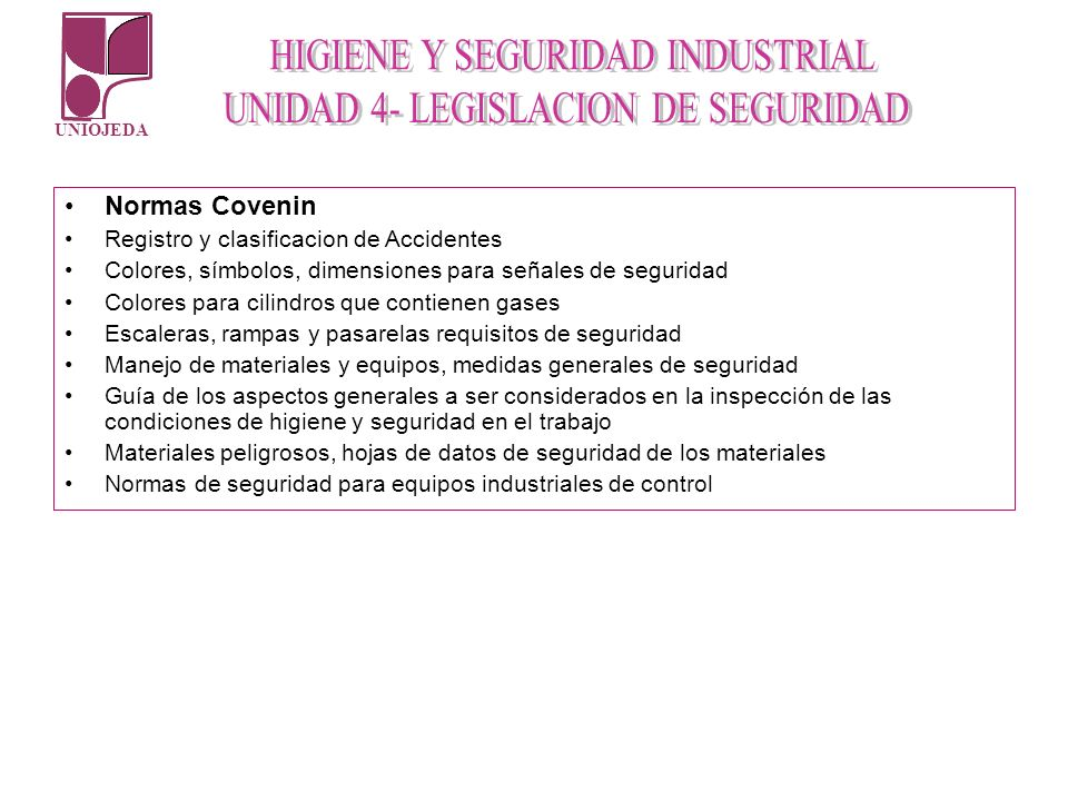 Normas Covenin Registro y clasificacion de Accidentes