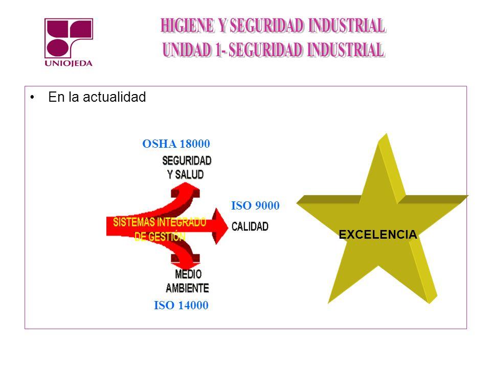 En la actualidad OSHA 18000 EXCELENCIA ISO 9000 ISO 14000