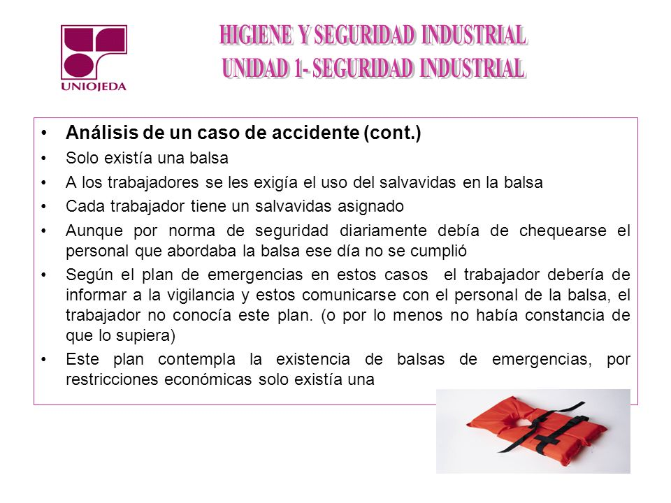 Análisis de un caso de accidente (cont.)