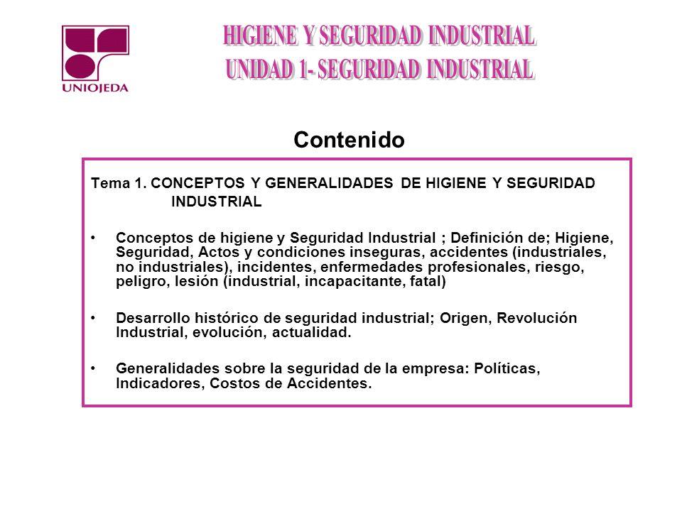 Contenido Tema 1. CONCEPTOS Y GENERALIDADES DE HIGIENE Y SEGURIDAD