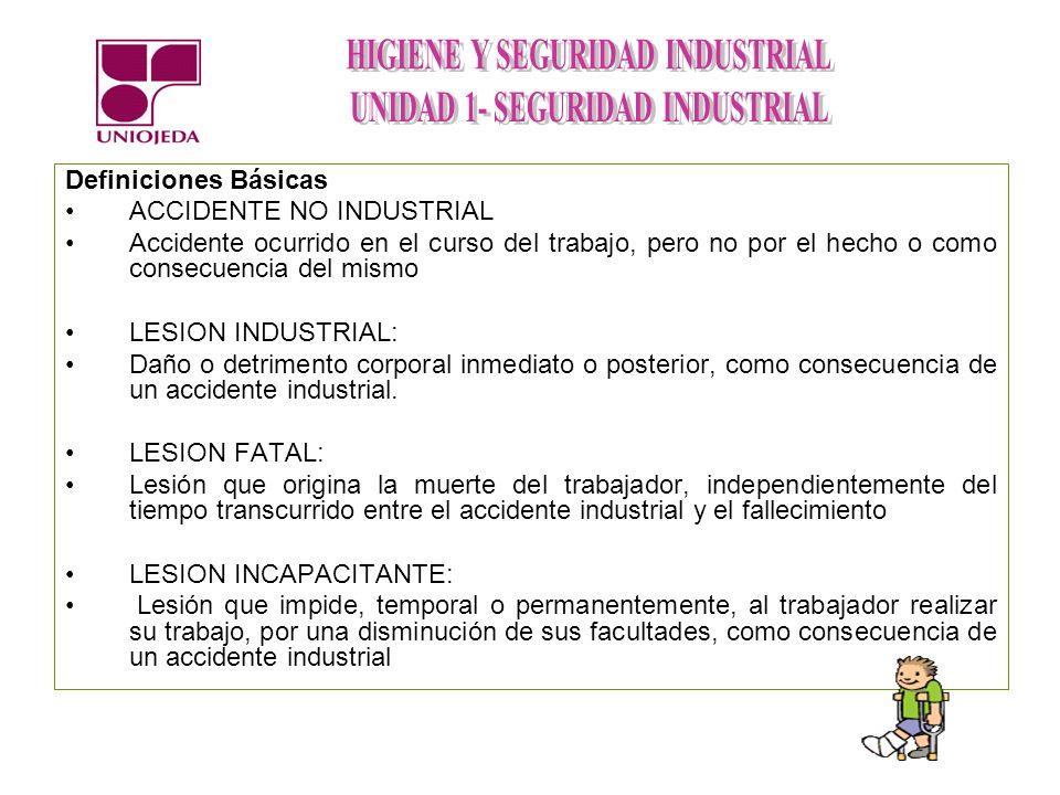 Definiciones Básicas ACCIDENTE NO INDUSTRIAL. Accidente ocurrido en el curso del trabajo, pero no por el hecho o como consecuencia del mismo.