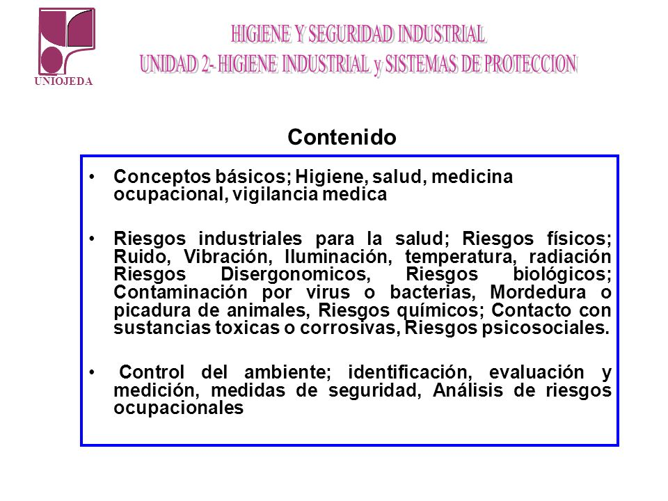 Contenido Conceptos básicos; Higiene, salud, medicina ocupacional, vigilancia medica.