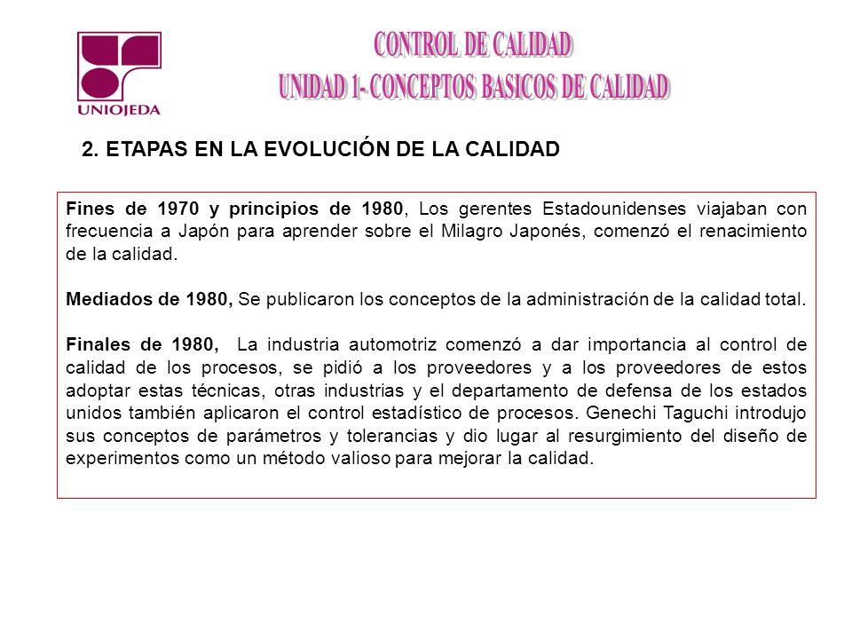 2. ETAPAS EN LA EVOLUCIÓN DE LA CALIDAD