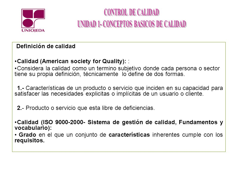 Calidad (American society for Quality): :