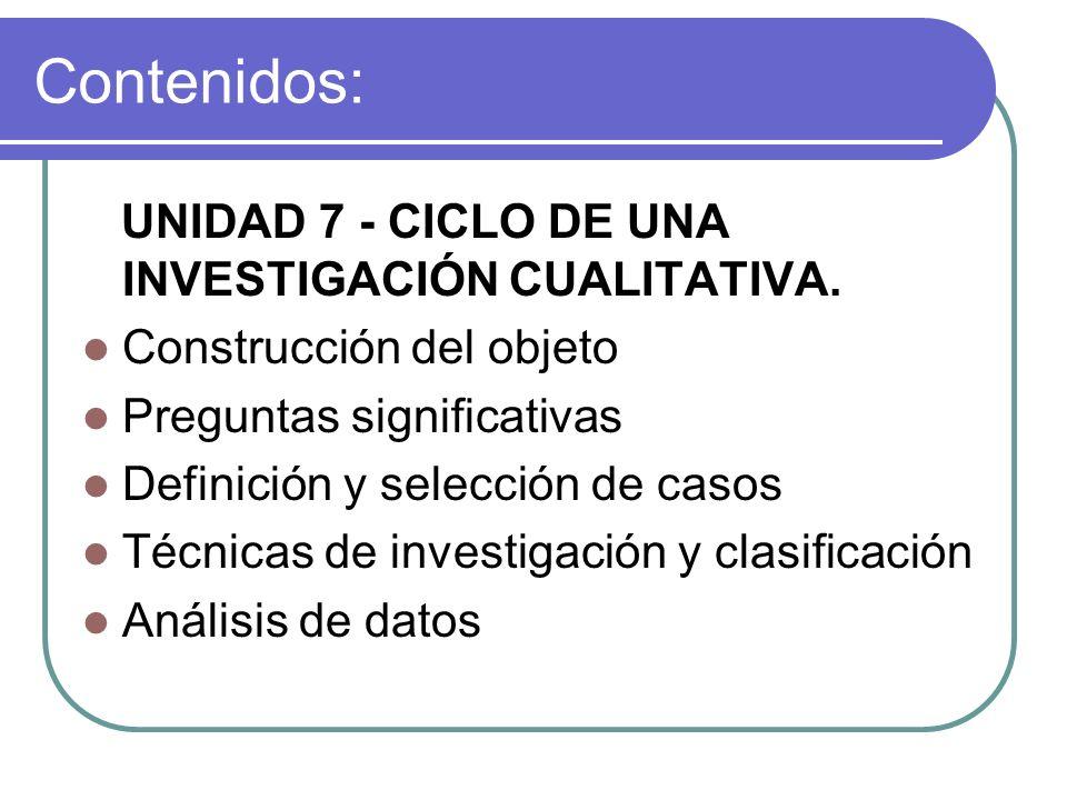 Contenidos: UNIDAD 7 - CICLO DE UNA INVESTIGACIÓN CUALITATIVA.