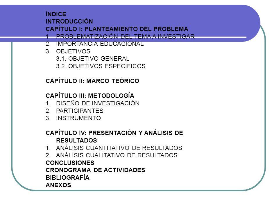 ÍNDICE INTRODUCCIÓN. CAPÍTULO I: PLANTEAMIENTO DEL PROBLEMA. 1. PROBLEMATIZACIÓN DEL TEMA A INVESTIGAR.
