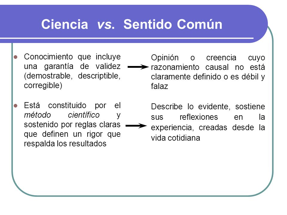 Ciencia vs. Sentido Común