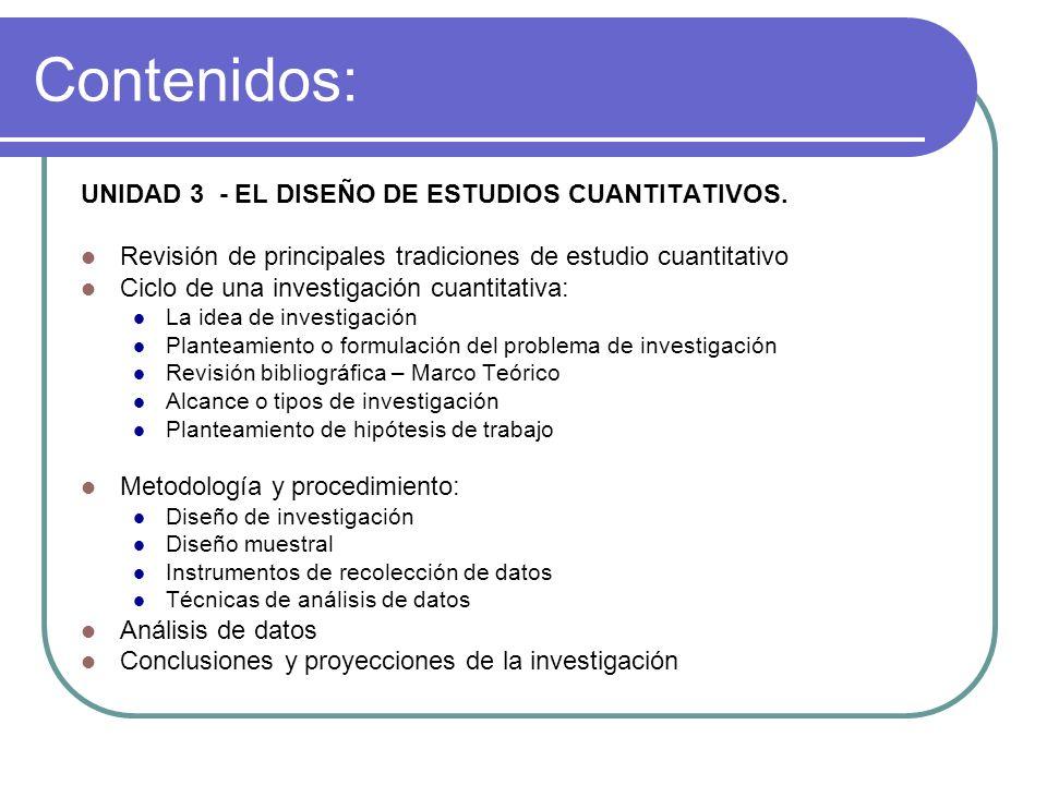 Contenidos: UNIDAD 3 - EL DISEÑO DE ESTUDIOS CUANTITATIVOS.