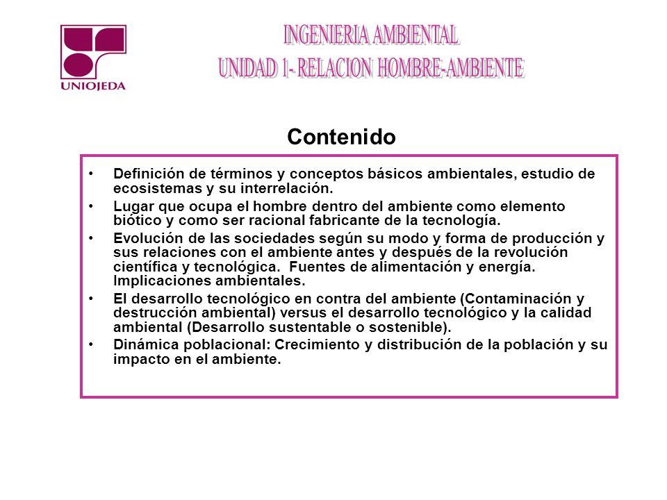 Contenido Definición de términos y conceptos básicos ambientales, estudio de ecosistemas y su interrelación.