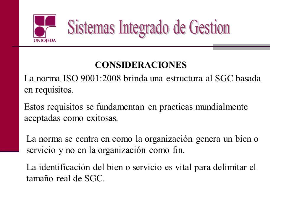 CONSIDERACIONES La norma ISO 9001:2008 brinda una estructura al SGC basada en requisitos.