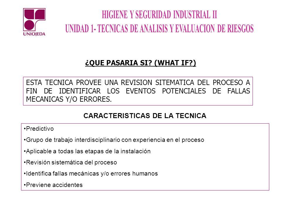 ¿QUE PASARIA SI (WHAT IF ) CARACTERISTICAS DE LA TECNICA