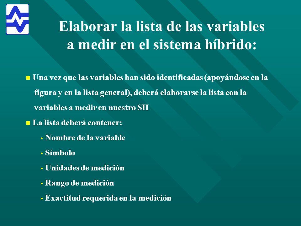 Elaborar la lista de las variables a medir en el sistema híbrido: