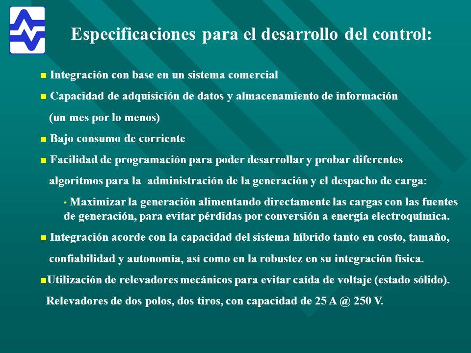 Especificaciones para el desarrollo del control: