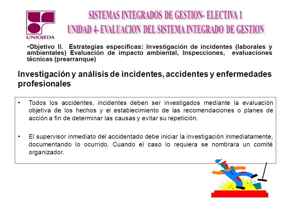 Objetivo II. Estrategias especificas: Investigación de incidentes (laborales y ambientales) Evaluación de impacto ambiental, Inspecciones, evaluaciones técnicas (prearranque)