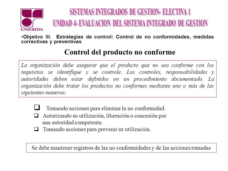 Control del producto no conforme