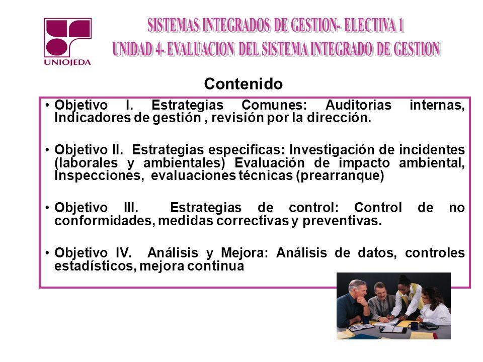 ContenidoObjetivo I. Estrategias Comunes: Auditorias internas, Indicadores de gestión , revisión por la dirección.