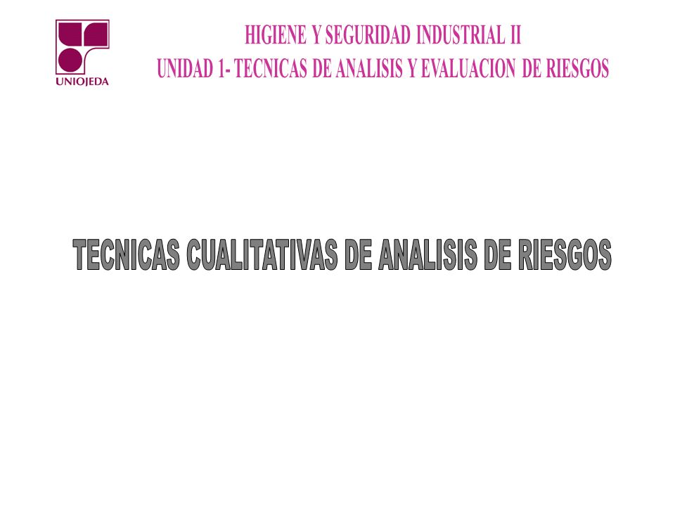 TECNICAS CUALITATIVAS DE ANALISIS DE RIESGOS