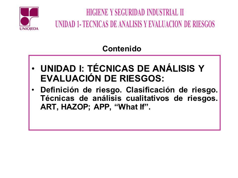UNIDAD I: TÉCNICAS DE ANÁLISIS Y EVALUACIÓN DE RIESGOS: