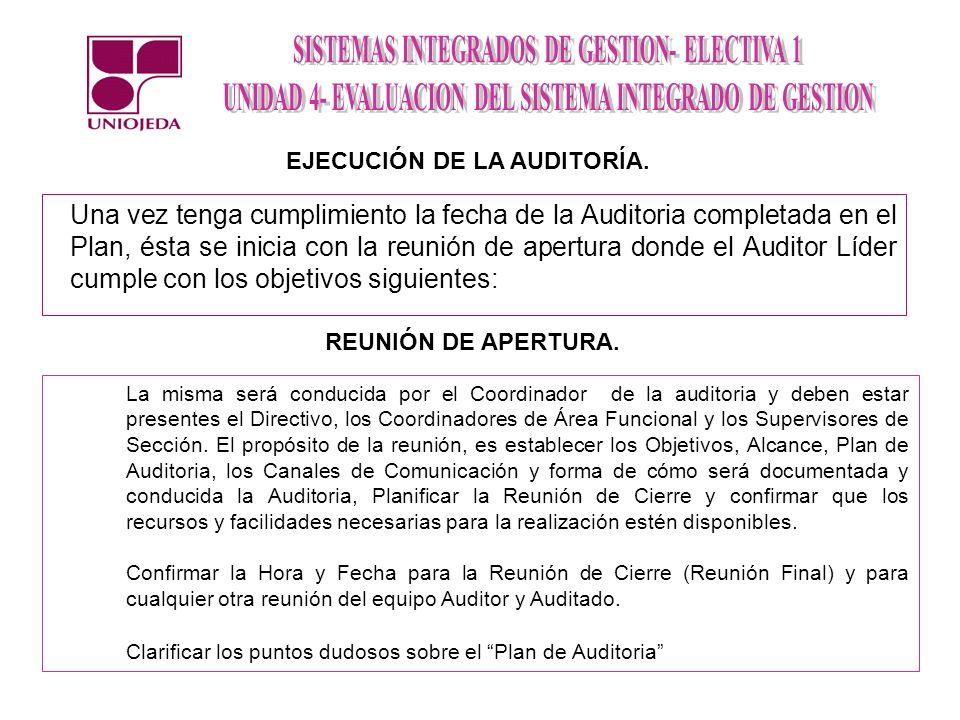 EJECUCIÓN DE LA AUDITORÍA.
