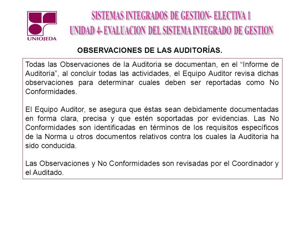 OBSERVACIONES DE LAS AUDITORÍAS.