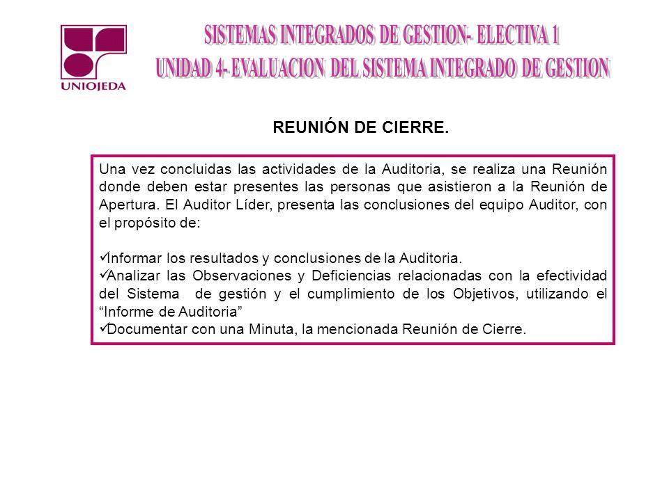 REUNIÓN DE CIERRE.