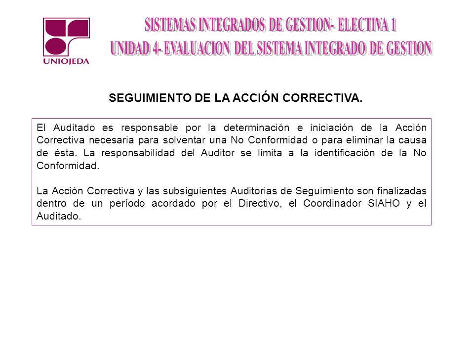 SEGUIMIENTO DE LA ACCIÓN CORRECTIVA.