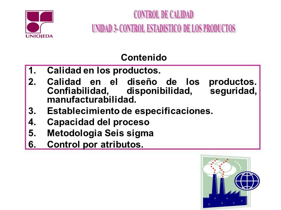 Contenido Calidad en los productos. Calidad en el diseño de los productos. Confiabilidad, disponibilidad, seguridad, manufacturabilidad.