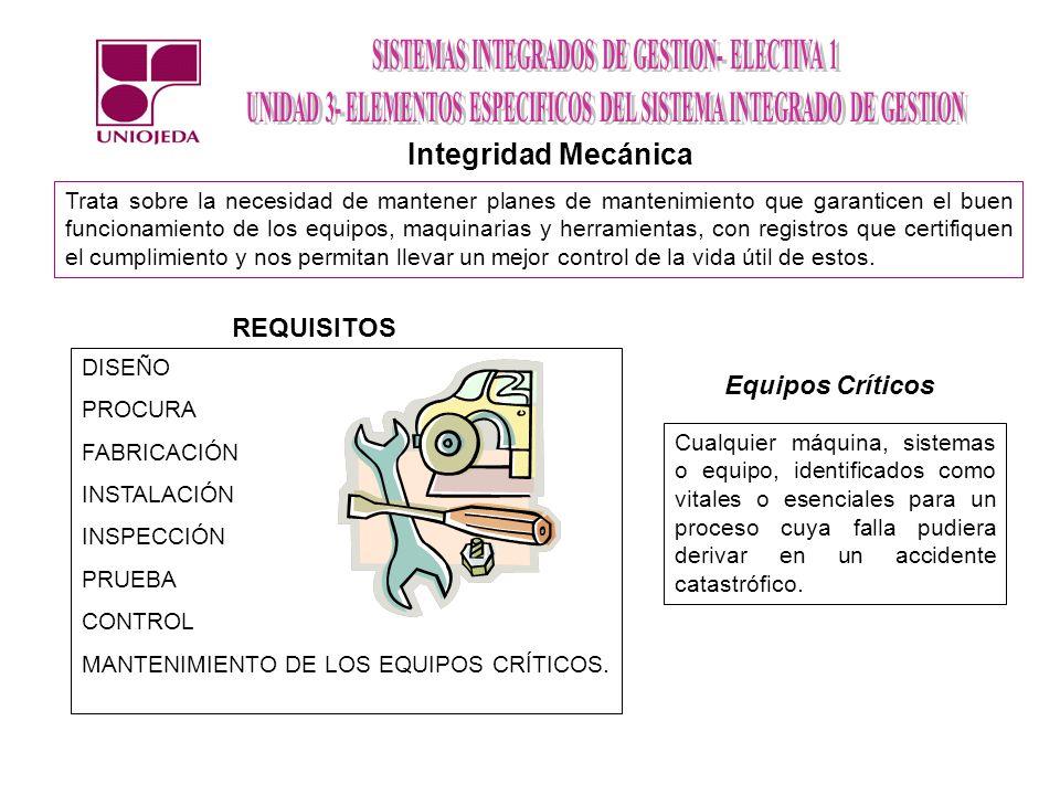 Integridad Mecánica REQUISITOS Equipos Críticos