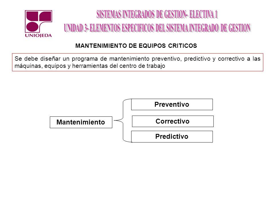 MANTENIMIENTO DE EQUIPOS CRITICOS