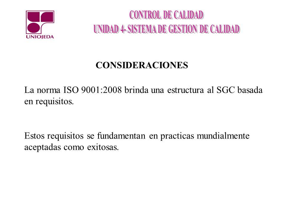 CONSIDERACIONESLa norma ISO 9001:2008 brinda una estructura al SGC basada en requisitos.