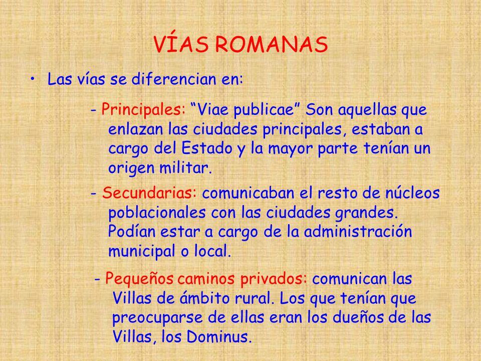 VÍAS ROMANAS Las vías se diferencian en: