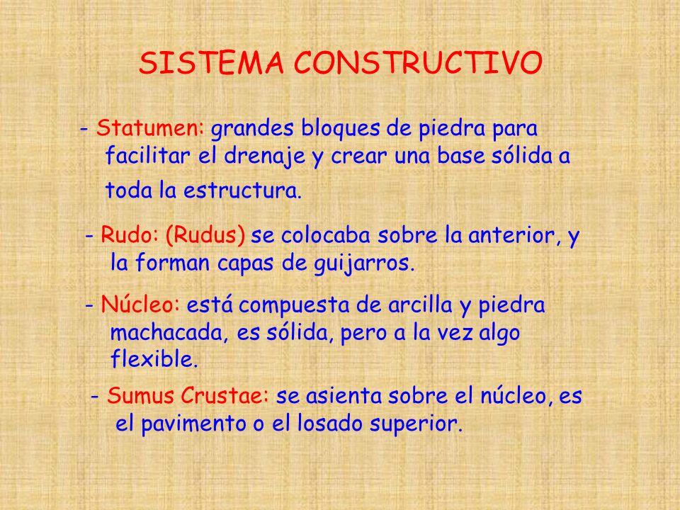 SISTEMA CONSTRUCTIVO - Statumen: grandes bloques de piedra para facilitar el drenaje y crear una base sólida a toda la estructura.